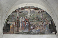 Crucifixion fresco, Chapter House, Fontevraud Abbey, Fontevraud-l'Abbaye, Loire Valley, Maine-et-Loire, France. The Chapter House was built in the 16th century and its walls were painted in 1563 with frescoes of scenes from Christ's Passion by the Anjou artist Thomas Pot. Here we see the Crucifixion, with contemporary portraits of Louise-Francoise de Rochechouart de Mortemart, 33rd abbess of Fontevraud (1704-1742), and Renee de Bourbon, abbess of Chelles. The abbey itself was founded in 1100 by Robert of Arbrissel, who created the Order of Fontevraud. It was a double monastery for monks and nuns, run by an abbess. Picture by Manuel Cohen