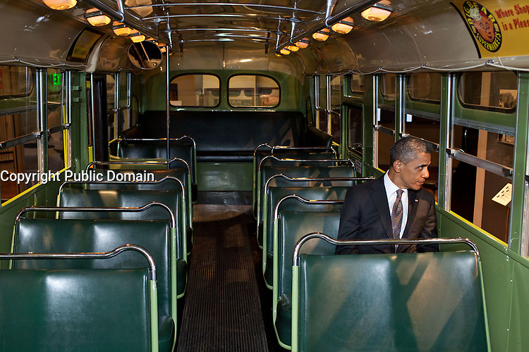 April 18, 2012<br /> &quot;We were doing an event at the Henry Ford Museum in Dearborn, Michigan. Before speaking, the President was looking at some of the automobiles and exhibits adjacent to the event, and before I knew what was happening he walked onto the famed Rosa Parks bus. He sat in one of the seats, looking out the window for a only few seconds.&quot; (Official White House Photo by Pete Souza)<br /> <br /> This official White House photograph is being made available only for publication by news organizations and/or for personal use printing by the subject(s) of the photograph. The photograph may not be manipulated in any way and may not be used in commercial or political materials, advertisements, emails, products, promotions that in any way suggests approval or endorsement of the President, the First Family, or the White House.