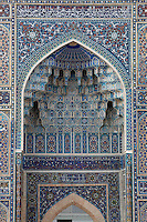 Detail of Monumental arch, Gur-Emir Mausoleum, 1417-20, Samarkand, Uzbekistan, pictured on July 15, 2010, at dawn. Gur-Emir Mausoleum, or Tomb of the Ruler, was built by Timur in 1404 for his favourite grandson, Mohammed Sultan, and became the mausoleum for the Timurid dynasty. Samarkand, a city on the Silk Road, founded as Afrosiab in the 7th century BC, is a meeting point for the world's cultures. Its most important development was in the Timurid period, 14th to 15th centuries. Picture by Manuel Cohen.