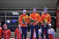 SPEED SKATING: INZELL: 04-12-2015, Max Aicher Arena, ISU World Cup, Podium, Team Pursuit Men, Arjan Stroetinga, Jan Blokhuijsen, Douwe de Vries, Team NED, ©foto Martin de Jong