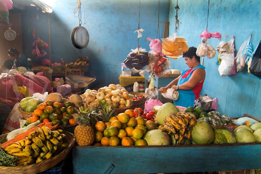 Woman in Famers Market in San Juan del Sur, Nicaragua.