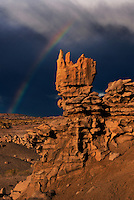 746000046 a summer thunderstorm and rainbow form over the sandstone hoodoos in fantasy canyon blm lands utah united states