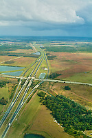 Aerial View of Alligator Alley Florida (also known as Everglades Parkway)