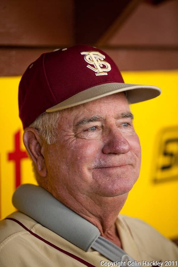 TALLAHASSEE, FL 4/24/11-FSU-DUKE BASE11 CH-Florida State Head Coach Mike Martin talks about sweeping Duke Sunday at Dick Howser Stadium in Tallahassee. The Seminoles beat the Blue Devils 13-9...COLIN HACKLEY PHOTO