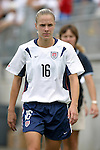 1 August 2004: Lindsay Tarpley before the game. The United States defeated China 3-1 at Rentschler Field in East Hartford, CT in an women's international friendly soccer game..