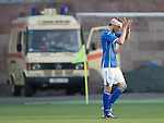 Alashkert FC v St Johnstone...02.07.15   Republican Stadium, Yerevan, Armenia....UEFA Europa League Qualifier.<br /> Murray Davidson applauds th fans as he leaves the pitch with a knee injury<br /> Picture by Graeme Hart.<br /> Copyright Perthshire Picture Agency<br /> Tel: 01738 623350  Mobile: 07990 594431