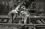 1973 Railroad workers, Conrail. Lewisburg, PA. Gandy Dancers..File #73-134-C14a