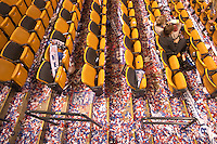 BOSTON, MA-July 29, 2004: The floor of the convention hall after John Kerry's speech at the 2004 Democratic National Convention in Boston, Massachusetts.