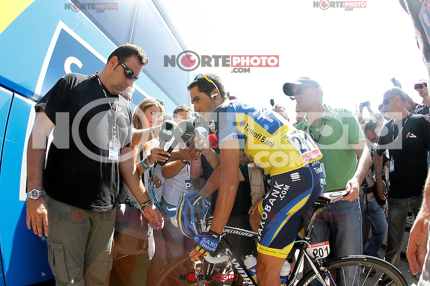 Alberto Contador attends the journalist before the stage of La Vuelta 2012 between Huesca and Motorland Aragon (Alcaniz).August 24,2012. (ALTERPHOTOS/Acero) /NortePhoto.com<br />