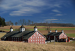 A pair of red barns with triple cupola's each provide a landmark for travelers along the Bachman Valley Road north of Westmminster.  The barns date back to the late 1880's when Hanover Shoe Farm co-founder, Clinton Myers, bought a large tract of land for a Maryland dairy operation.  Myers, known worldwide for his harness racing stock,  also raised some standardbred horses here.