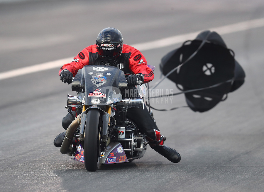 Feb 11, 2017; Pomona, CA, USA; NHRA top fuel nitro Harley rider Tii Tharpe during qualifying for the Winternationals at Auto Club Raceway at Pomona. Mandatory Credit: Mark J. Rebilas-USA TODAY Sports