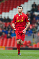 LIVERPOOL, ENGLAND - Easter Monday, April 1, 2013: Liverpool's Lloyd Jones in action against Tottenham Hotspur during the Under 21 FA Premier League match at Anfield. (Pic by David Rawcliffe/Propaganda)