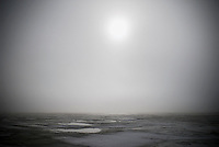 Sun trying to shine through heavy fog on a cold day at the Curonian Spit, Lithuanina
