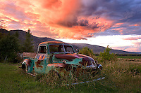 Yard art.  I've been driving past this beautiful 1952 Chevy Thriftmaster for a couple of years thinking about how I might photograph it.  Earlier this week as sunrise illuminated monsoonal cloud formations along the edge of the Uinta Mountains I saw what I had been waiting for.   My first car was a beat up 1952 Chevy pickup that I bought for $400 after working all summer moving irrigation pipe and washing dishes in Pocatello, Idaho.  Fond memories of days gone by.  September 2013.