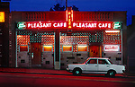 Neon sign of the Pleasant Cafe has been welcoming the hungry residents of Boston since the 1920's.