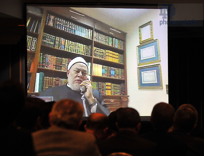 """Grand Mufti of Egypt Shaykh Ali Gomaa speaks via video conference at a discussion and lecture to launch the research initiative """"Contending Modernities"""" in New York City...Photo by Matt Cashore/University of Notre Dame"""