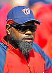 4 March 2009: Washington Nationals' first baseman Dmitri Young watches from the dugout during a Spring Training game against the New York Mets at Space Coast Stadium in Viera, Florida. The Nationals rallied to defeat the Mets 6-4 . Mandatory Photo Credit: Ed Wolfstein Photo