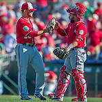 6 March 2016: Washington Nationals pitcher Nick Lee gets congratulated by catcher Jhonatan Solano after closing out a Spring Training pre-season game against the St. Louis Cardinals at Roger Dean Stadium in Jupiter, Florida. The Nationals defeated the Cardinals 5-2 in Grapefruit League play. Mandatory Credit: Ed Wolfstein Photo *** RAW (NEF) Image File Available ***