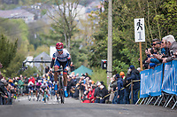 Ashleigh Moolman (ZAF/Cerv&eacute;lo-Bigla) leading up the Mur de Huy on the first ascent of the women's race <br /> <br /> La Fl&egrave;che Wallonne Feminine 2017 (1.WWT)<br /> One Day Race: Huy &rsaquo; Mur de Huy (120km)