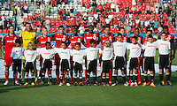 18 July 2012: The Toronto FC team during the national anthems in an MLS game between the Colorado Rapids and Toronto FC at BMO Field in Toronto, Ontario..Toronto FC won 2-1..