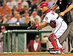 28 September 2010: Washington Nationals' catcher Ivan Rodriguez in action against the Philadelphia Phillies at Nationals Park in Washington, DC. The Nationals defeated the Phillies 2-1 on an Adam Dunn walk-off solo homer in the 9th inning to even up their 3-game series one game apiece. Mandatory Credit: Ed Wolfstein Photo