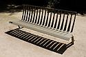 Paris, France. 09.05.2015. Park bench, Jardins des plantes, Paris, France. Photograph © Jane Hobson.