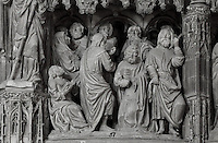 The Dormition of the Virgin, before 1540, from the choir screen, Chartres Cathedral, Eure-et-Loir, France. Chartres cathedral was built 1194-1250 and is a fine example of Gothic architecture. It was declared a UNESCO World Heritage Site in 1979. Picture by Manuel Cohen.