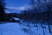 Franconia Notch State Park - Flume Covered Bridge in Lincoln, New Hampshire USA during the night.