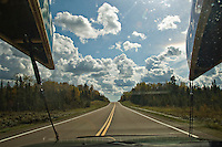 First hand view of driving with canoes up Minnesota North Shore to Boundary Waters Canoe Area Wilderness.