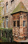 Late Gothic Bay Window 1514, Augustijnenrei at Vlamingstraat, Bruges, Brugge, Belgium