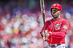 7 September 2014: Washington Nationals outfielder Denard Span steps up to the plate against the Philadelphia Phillies at Nationals Park in Washington, DC. The Nationals defeated the Phillies 3-2 to salvage the final game of their 3-game series. Mandatory Credit: Ed Wolfstein Photo *** RAW (NEF) Image File Available ***