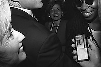 Hartford, CT - October 6, 1996: Bill and Hillary Clinton greet Whoopi Goldberg at the conclusion of the first presidential debate between President Bill Clinton and Senator Bob Dole in Hartford, Connecticut at Bushnell Theater.