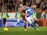 Aberdeen v St Johnstone&hellip;22.09.16.. Pittodrie..  Betfred Cup<br />Joe Gormley is brought down by Graeme Shinnie<br />Picture by Graeme Hart.<br />Copyright Perthshire Picture Agency<br />Tel: 01738 623350  Mobile: 07990 594431