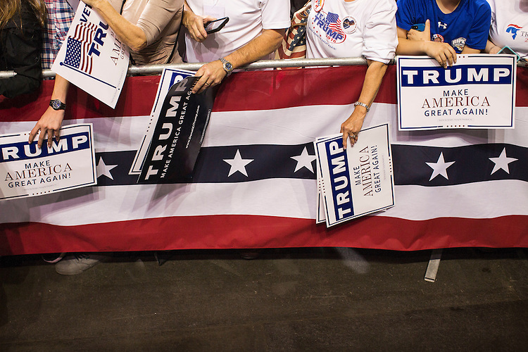 UNITED STATES - MARCH 9 - Supporters wait to have their rally cards signed by Republican presidential candidate Donald Trump after a campaign rally at the Crown Center Coliseum in Fayetteville, N.C, Wednesday, March 9, 2016. (Photo By Al Drago/CQ Roll Call)