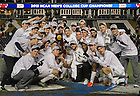 Dec 15, 2013; The Notre Dame men's soccer team celebrates with the College Cup championship trophy after  Maryland 2-1 in Chester, Pa. Photo by Barbara Johnston/University Photographer