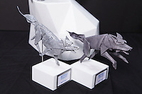 OrigamiUSA 2014 exhibition. Origami Timber Wolf Pack designed by Paul Frasco