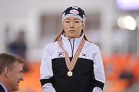 SPEEDSKATING: SOCHI: Adler Arena, 24-03-2013, Essent ISU World Championship Single Distances, Day 4, podium 500m Ladies, Sang-Hwa Lee (KOR), © Martin de Jong