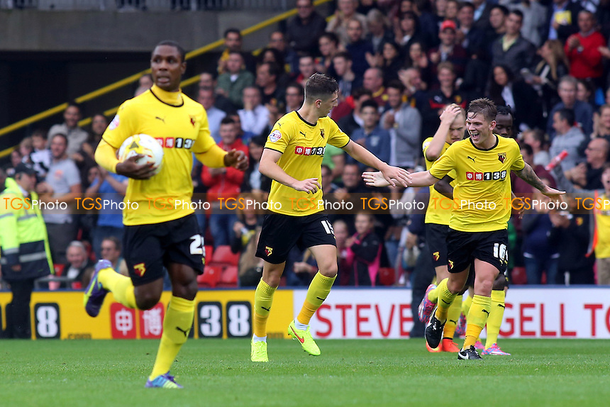 Craig Cathcart celebrates his Watford goal with Sean Murray - Watford vs AFC Bournemouth - Sky Bet Championship Football at Vicarage Road Stadium, Watford, Hertfordshire - 20/09/14 - MANDATORY CREDIT: Paul Dennis/TGSPHOTO - Self billing applies where appropriate - contact@tgsphoto.co.uk - NO UNPAID USE