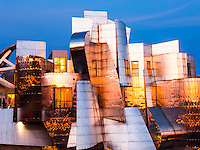 The Frederick R. Weisman Art Museum at the University of Minnesota at sunset. A stainless steel and brick building designed by architect Frank Gehry, the Weisman Art Museum offers an educational and friendly museum experience.