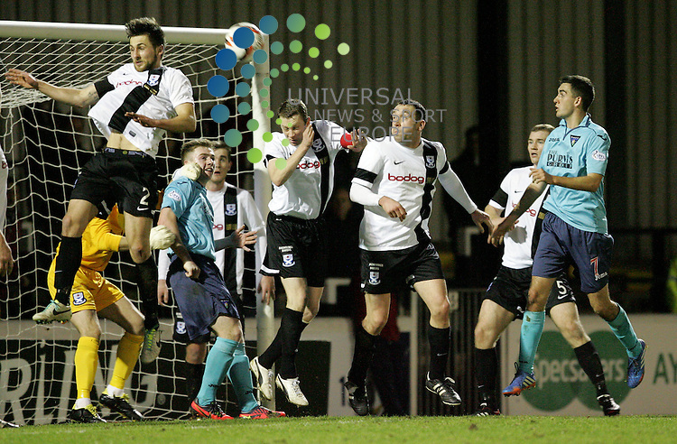 Pars have a corner and all the Ayr defence and help from the forwards to clear this effort<br /> 4 th round of the William Hill Scottish Cup the game between Ayr United V Dunfermline played at Somerset Park Picture by Alistair Mulhearn / Universal News and Sport (Scotland). All pictures must be credited to www.universalnewsandsport.com. (Office) 0844 884 51 22 30/11/2013