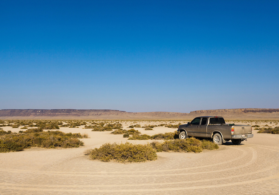 The Alvord Desert is in remote Southeast Oregon along the Steens Mountain area and Field-Denio road.  The area is popular for landsailing, overlanding, and high-speed driving.