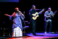 Haitian artist Emeline Michel performs during a event to commemorate Martin Luther King's day at the Apollo Theater in New York. 17.01.2016. Kena Betancur/VIEWpress.