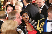 Singer Aretha Franklin leaves the East Room after attending an event for the 2016 Kennedy Center Honorees, in the East Room of the White House, December 4, 2016. The 2016 honorees are: Argentine pianist Martha Argerich; rock band the Eagles; screen and stage actor Al Pacino; gospel and blues singer Mavis Staples; and musician James Taylor.<br /> Credit: Aude Guerrucci / Pool via CNP
