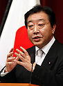 September 2, 2011, Tokyo, Japan - Japans new Prime Minister Yoshihiko Noda speaks during his first news conference as the nations leader at Kantei, prime ministers official residence, in Tokyo following his swearing-in ceremony before Emperor Akihito at the Imperial Palace in Tokyo on Friday, September 2, 2011.....Noda, 54, made a strong pledge to aggressively work on quake-related reconstructions in the countrys northeastern region, problems with the troubled nuclear power plant and economic issues which include coping with the yen's strength. (Photo by AFLO) [3609] -mis-..