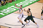 MILWAUKEE, WI - MARCH 16:  Purdue Boilermakers center Isaac Haas (44) catches a pass under the basket during the second half of the 2017 NCAA Men's Basketball Tournament held at BMO Harris Bradley Center on March 16, 2017 in Milwaukee, Wisconsin. (Photo by Jamie Schwaberow/NCAA Photos via Getty Images)