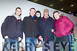 Michael Murphy, Paul O'Mahony, Codie Kelliher, Michael Kelliher and Jack McAuliffe from Abbeyfeale enjoying a night at the dogs at the kingdom greyhound stadium on Satuday