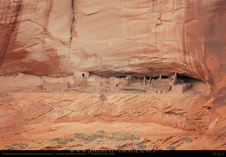 First Ruin in Canyon de Chelly from Junction Overlook, Anasazi Hisatsinom Cliff Dwellings, Canyon de Chelly National Monument, Navajo Nation, Chinle, Arizona