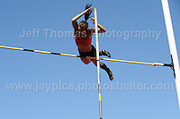 International athletics at Cardiff International stadium, Cardiff, South Wales - Tuesday 15th July 2014<br />    <br /> Katie James of Woodford Green Essex goes clear of the bar during the Women's pole vault competition. <br /> <br /> Photo by Jeff Thomas Photography