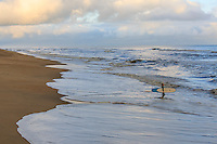 Picture of Nags Head beach. an early-morning surfer wadding into the ocean.
