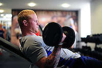 Tom Homer of Bath Rugby in the gym. Bath Rugby pre-season training on June 21, 2016 at Farleigh House in Bath, England. Photo by: Patrick Khachfe / Onside Images